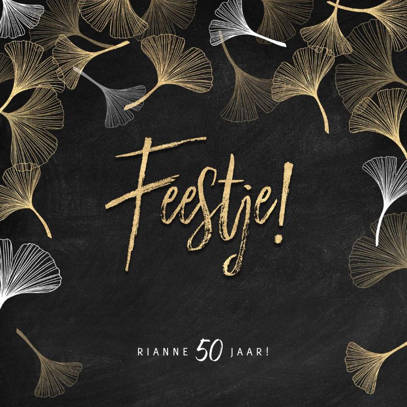 Uitnodigingen - Stijlvolle uitnodiging verjaardag gouden ginkgo en Feestje!
