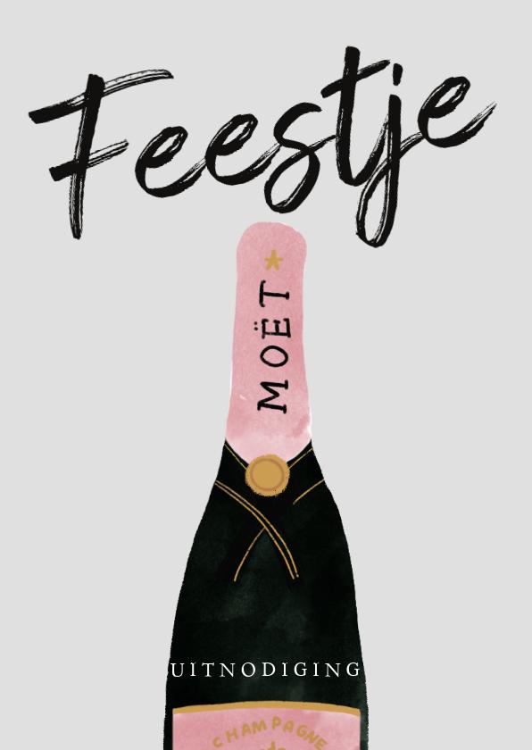 Uitnodigingen - Stijlvolle verjaardagsuitnodiging met champagne en Feestje