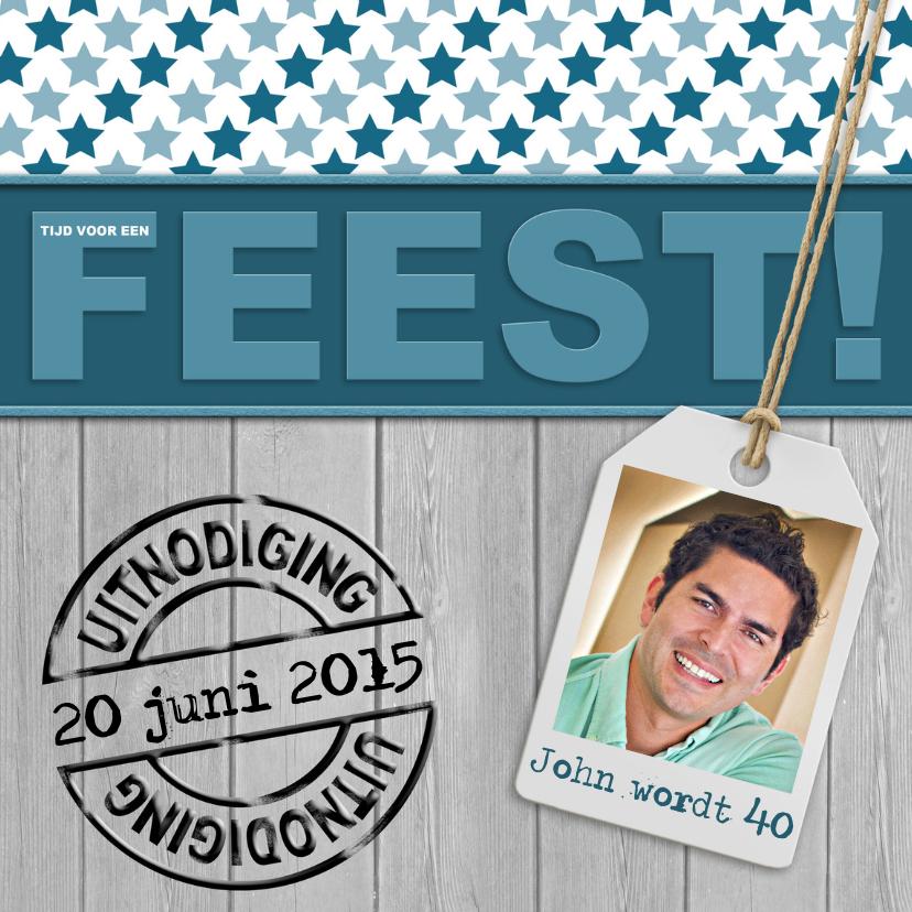 Uitnodigingen - Stoere uitnodiging met foto en sterren en woord FEEST