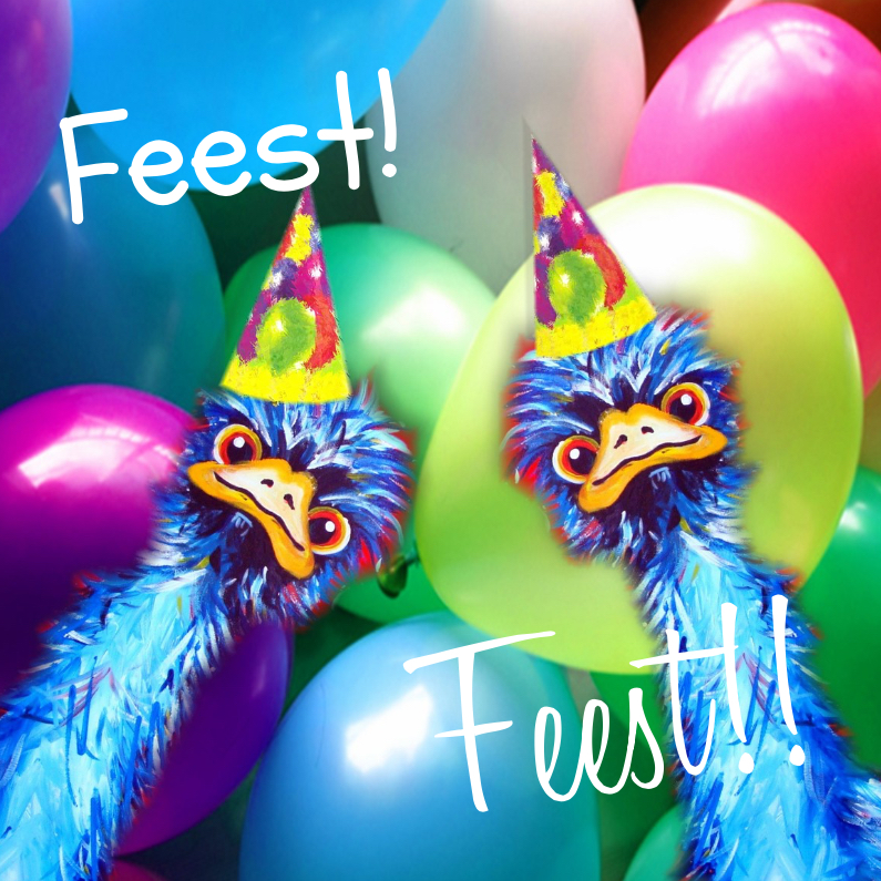 Uitnodigingen - Struisvogel feestje