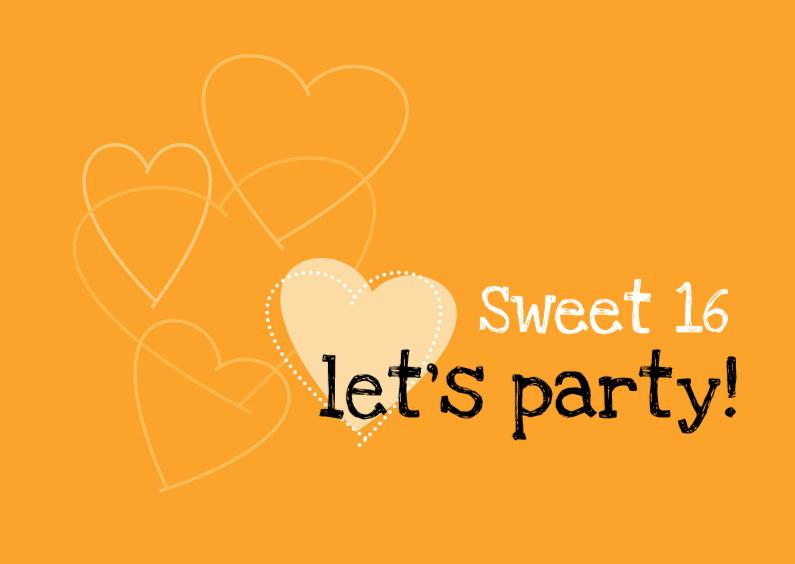Uitnodigingen - sweet 16 oranje hart liggend