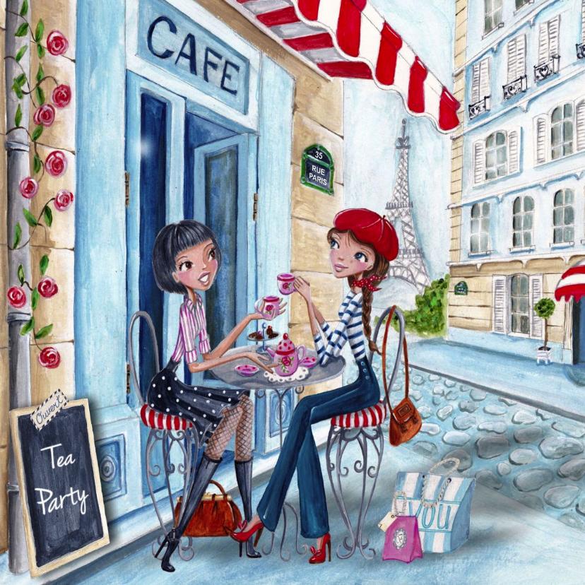 Uitnodigingen - Tea Party meisjes Parijs Illustratie