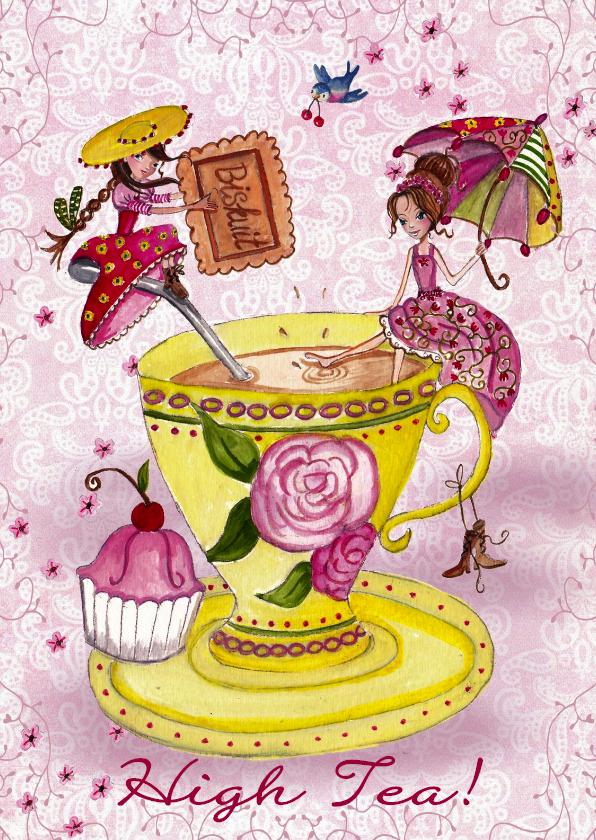 Uitnodigingen - Tea Party meisjes Thee Kopje Illustratie