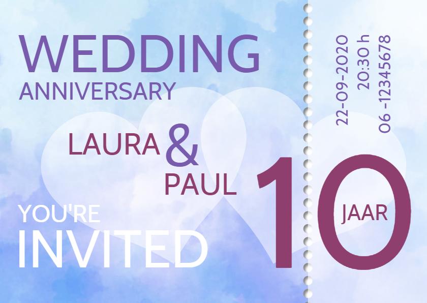Uitnodigingen - ticket 10 jaar getrouwd