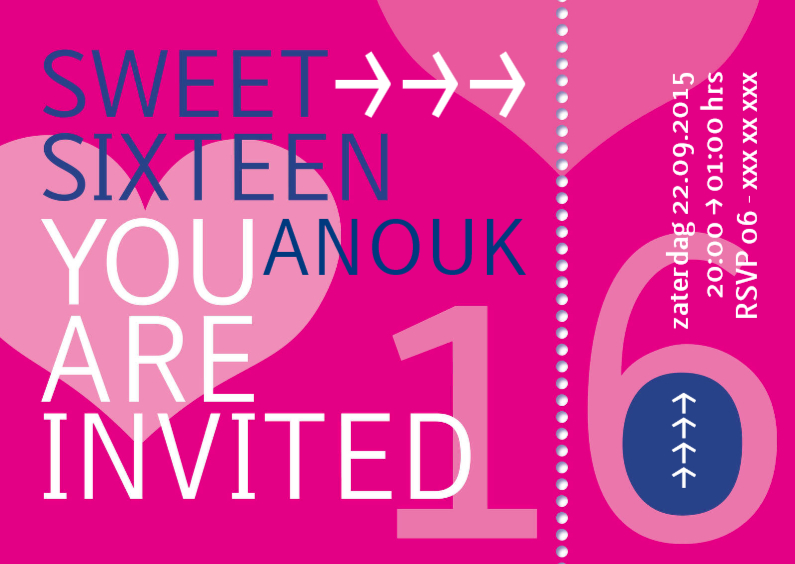 Uitnodigingen - ticket sweet sixteen