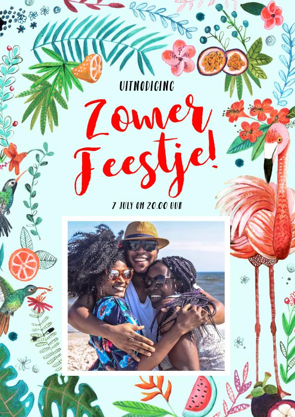 Uitnodigingen - Tropisch zomerfeest feestje Flamingo