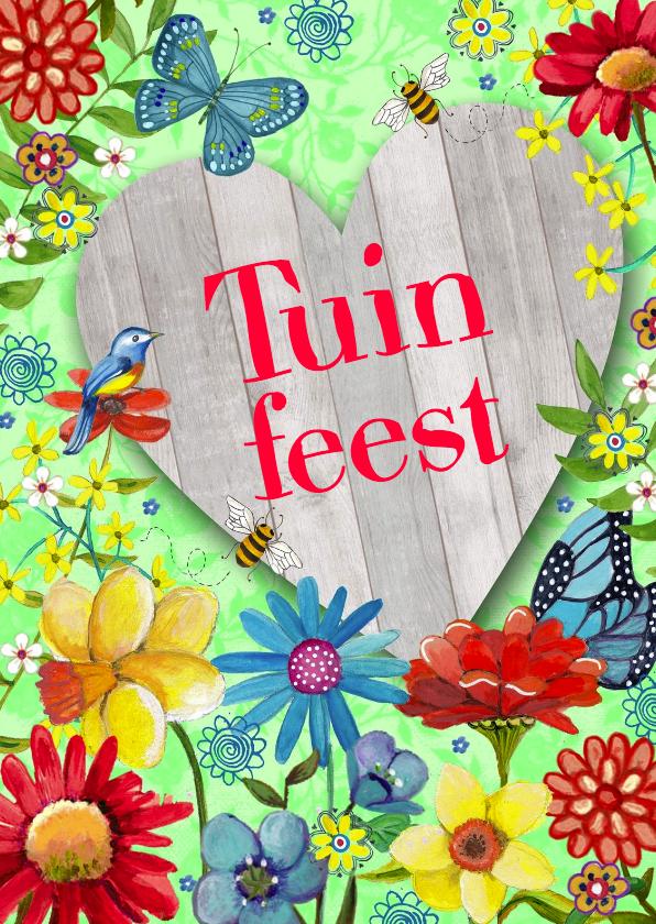 Uitnodigingen - Tuinfeest BBQ Party Bloemen Tuin