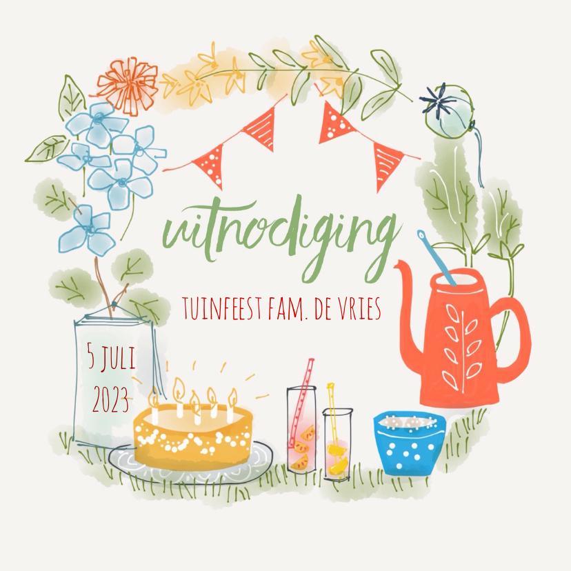 Uitnodigingen - Tuinfeest Bloemetjes