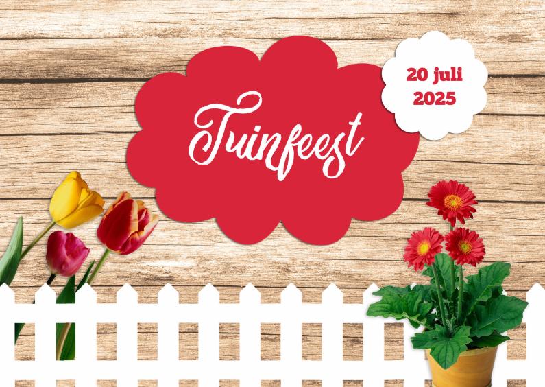 Uitnodigingen - Tuinfeest met wit hek - DH