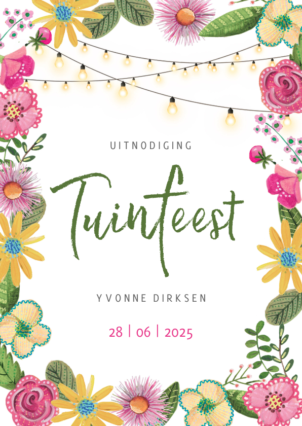 Uitnodigingen - Tuinfeest roze en gele bloemen met lichtjes