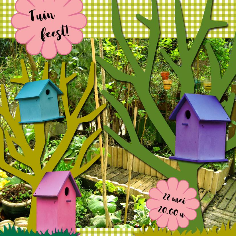 Uitnodigingen - Tuinfeest vogelhuisjes