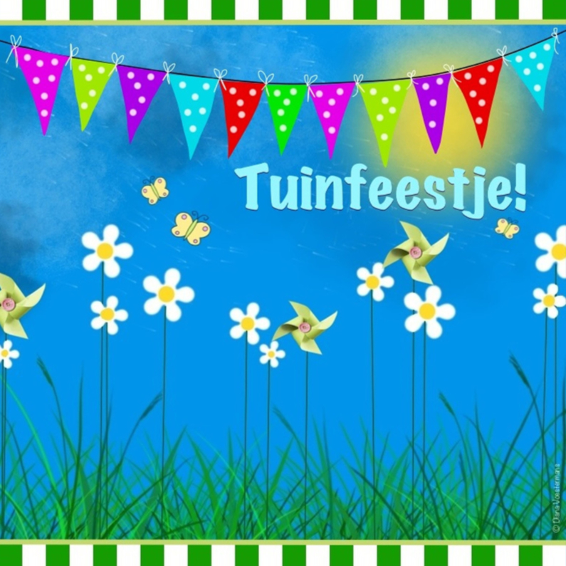 Uitnodigingen - Tuinfeestje slingers en bloemen