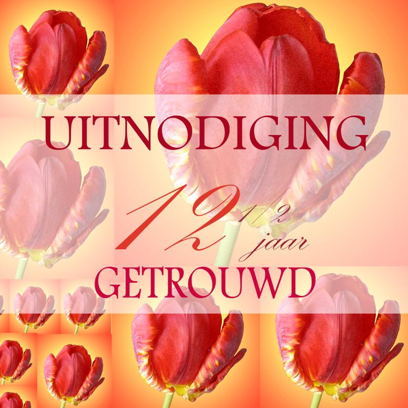 Uitnodigingen - tulpencollage 12 half jaar getrouwd
