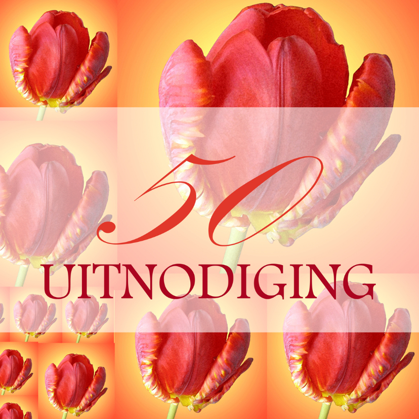 Uitnodigingen - Tulpencollage 50 uitnodiging