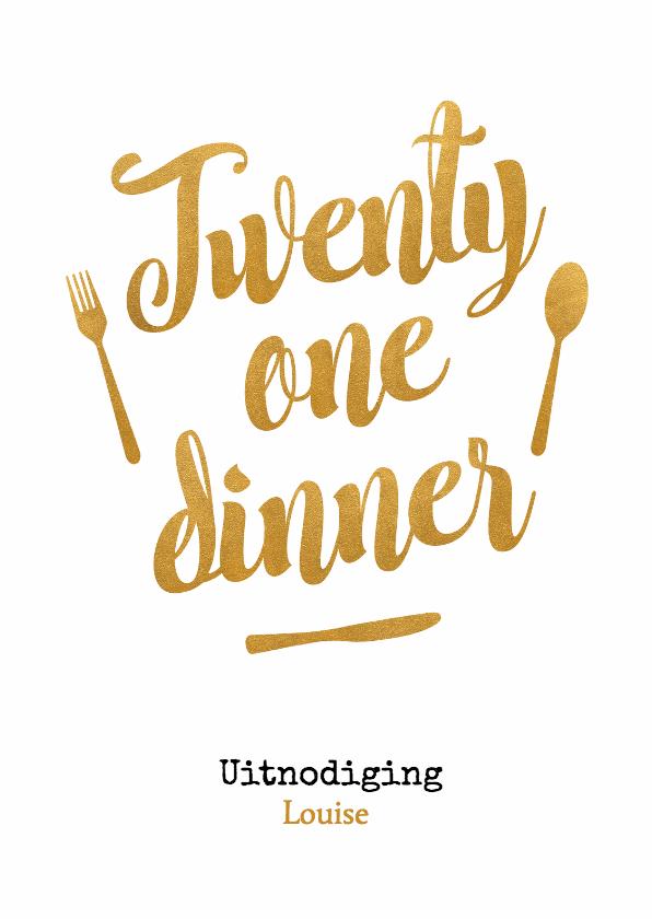 Uitnodigingen - Twenty one dinner goud - BK