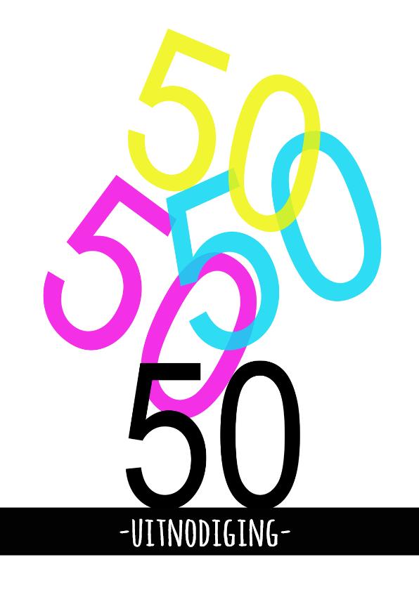 Uitnodigingen - Uitnodgingskaart 50 kleur