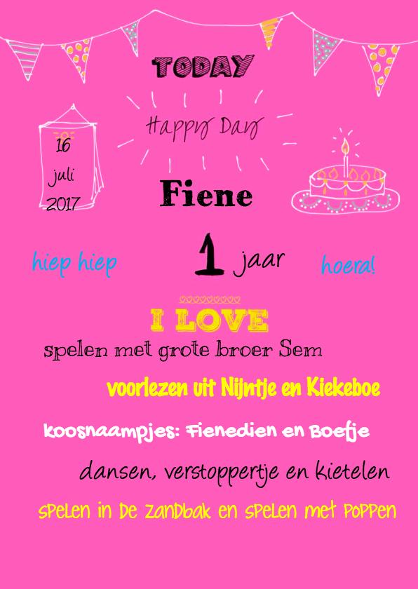 Uitnodigingen - Uitnodiging 1 jaar I Love Girl