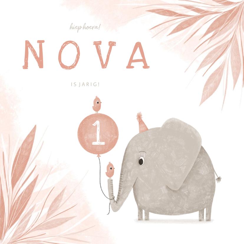 Uitnodigingen - Uitnodiging 1 jaar olifant met vogeltjes en ballon jungle