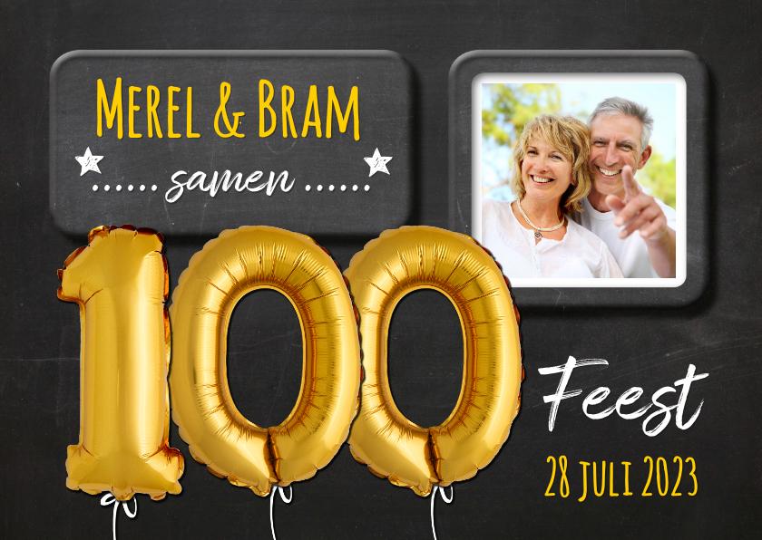 Uitnodigingen - Uitnodiging 100 ballon goud op krijtbord