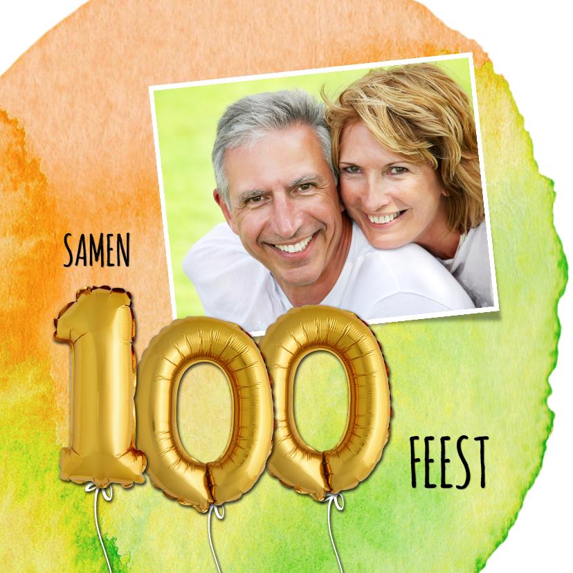 Uitnodigingen - Uitnodiging 100 ballon verf
