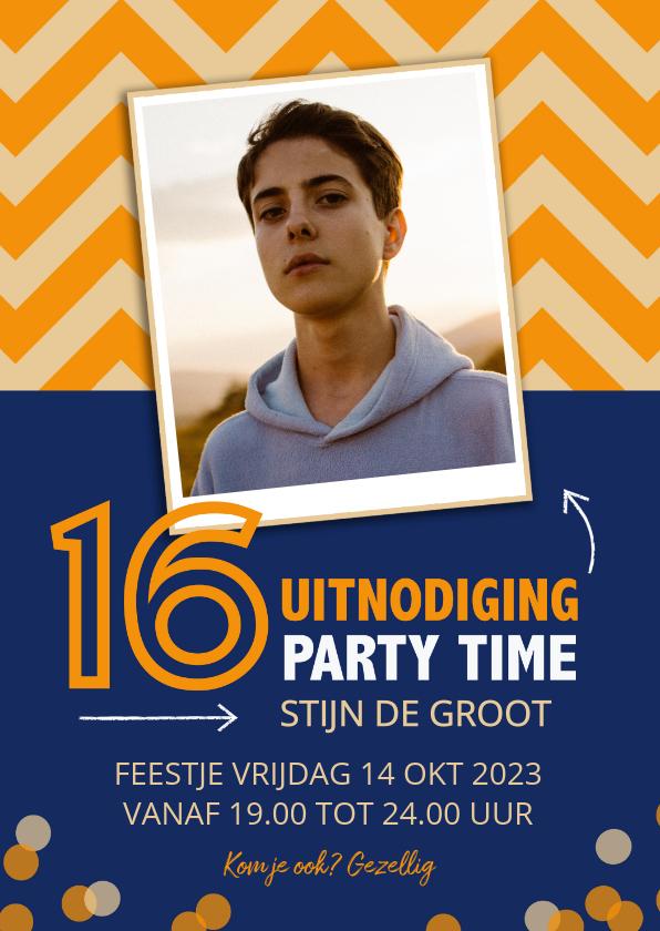 Uitnodigingen - Uitnodiging 16 jaar zigzag met blauw oranje
