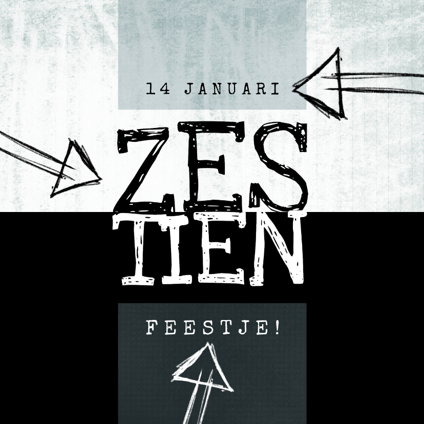 Uitnodigingen - Uitnodiging 16, modern en eenvoudig met stoere typografie