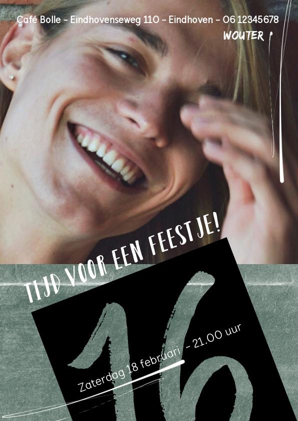 Uitnodigingen - Uitnodiging 16e verjaardag met grunge-achtergrond en foto