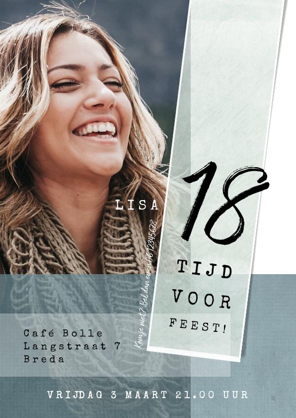 Uitnodigingen - Uitnodiging 18e verjaardag, eenvoudig met leuke typografie