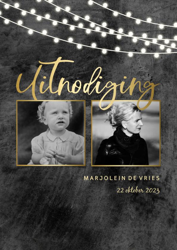 Uitnodigingen - Uitnodiging 2 foto's stoer beton met lampjes en goud