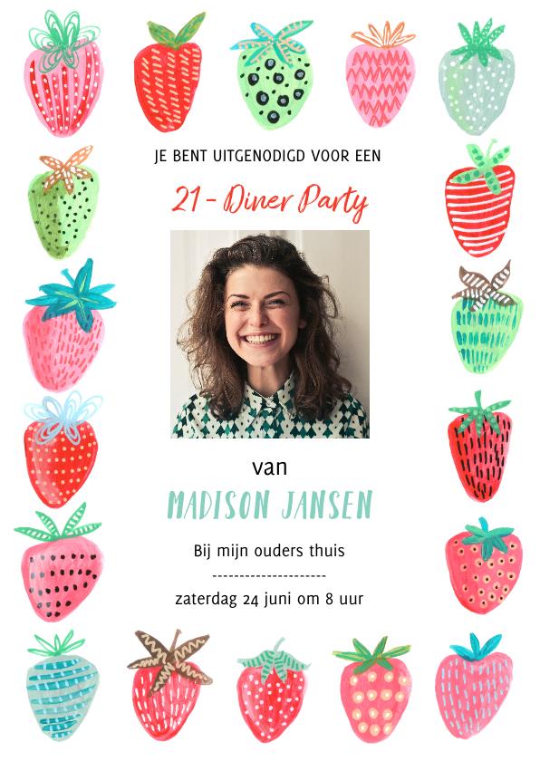 Uitnodigingen - Uitnodiging 21 diner aardbeien