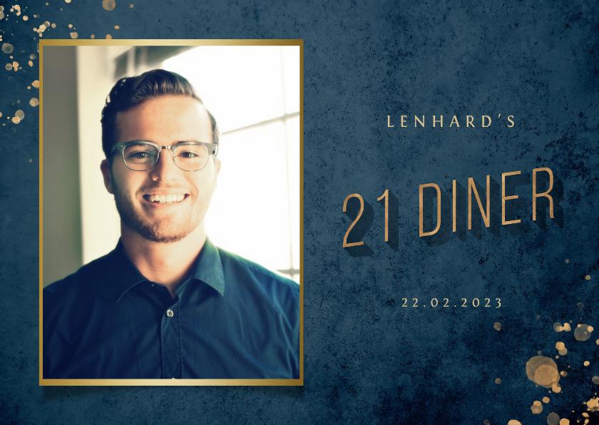 Uitnodigingen - Uitnodiging 21 diner donkerblauw met gouden accenten