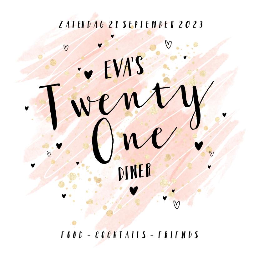Uitnodigingen - Uitnodiging 21 Diner goudlook hartjes waterverf