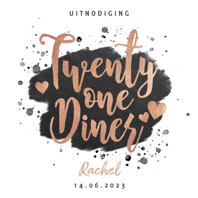 Uitnodigingen - Uitnodiging 21 diner met zwarte verf en gouden typografie