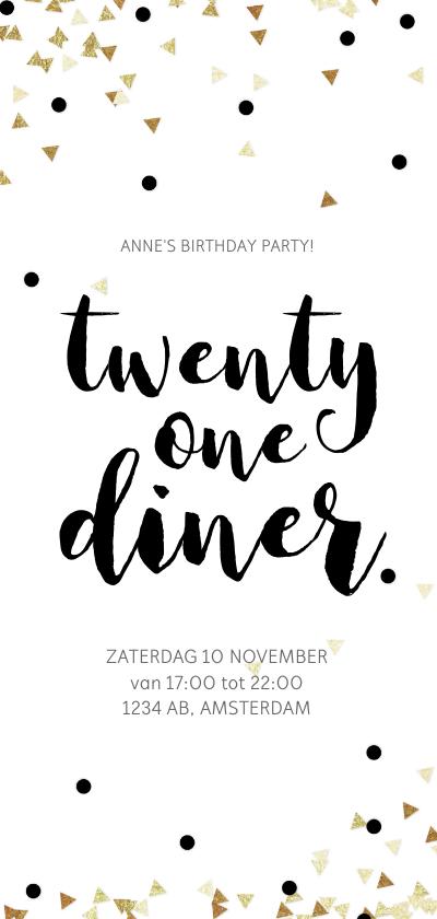 Uitnodigingen - Uitnodiging 21 Diner party confetti zwart wit