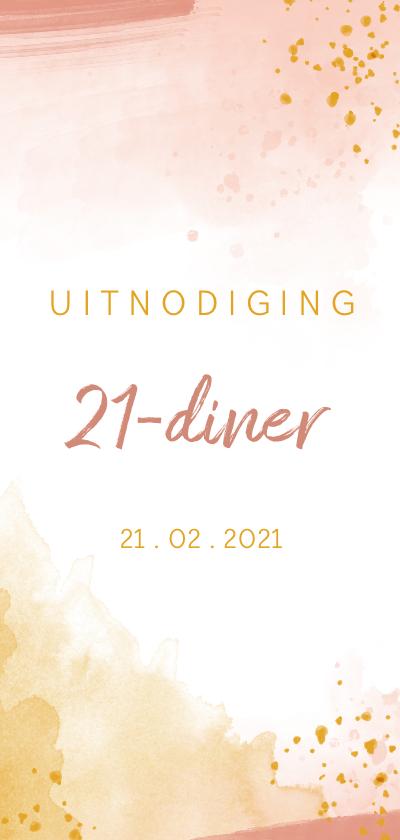 Uitnodigingen - Uitnodiging 21 diner waterverf oker goud met roze
