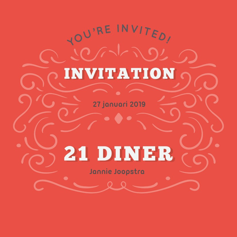 Uitnodigingen -  Uitnodiging 21 diner 'you're invited!'