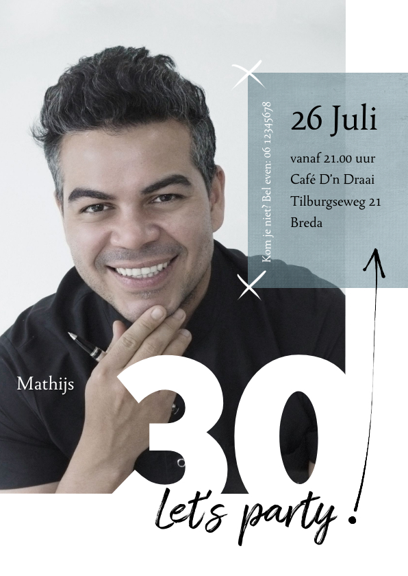 Uitnodigingen - Uitnodiging 30ste verjaardag modern, speelse typografie