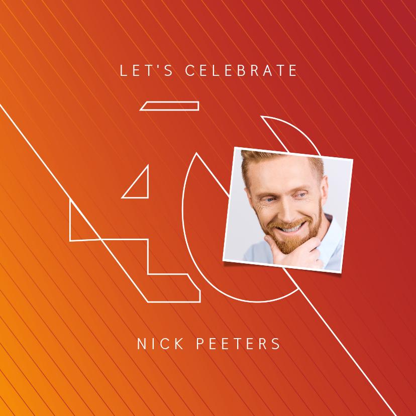 Uitnodigingen - Uitnodiging 40 jaar man grafisch stijlvol modern