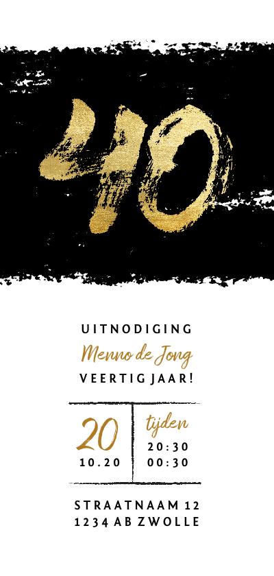 Uitnodigingen - Uitnodiging 40 met zwarte inkt stoer