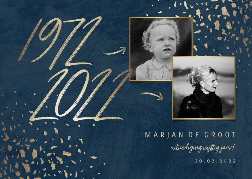 Uitnodigingen - Uitnodiging 50 foto jaartallen donkerblauw met terrazzo
