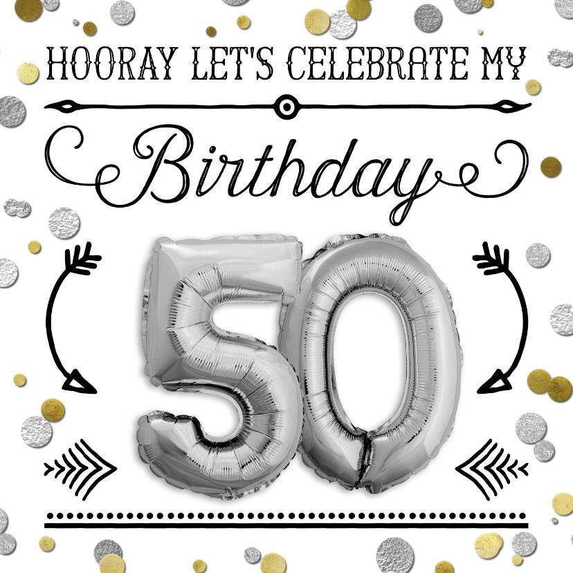 Uitnodigingen - Uitnodiging 50 jaar ballon zilver en confetti