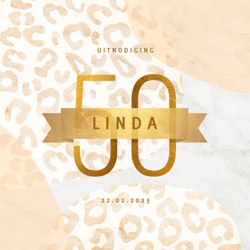 Uitnodigingen - Uitnodiging 50 jaar goud met marmer en panter abstract