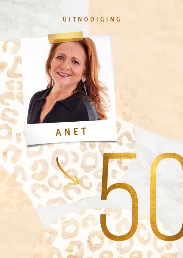 Uitnodigingen - Uitnodiging 50 jaar goud met panter en marmer abstract