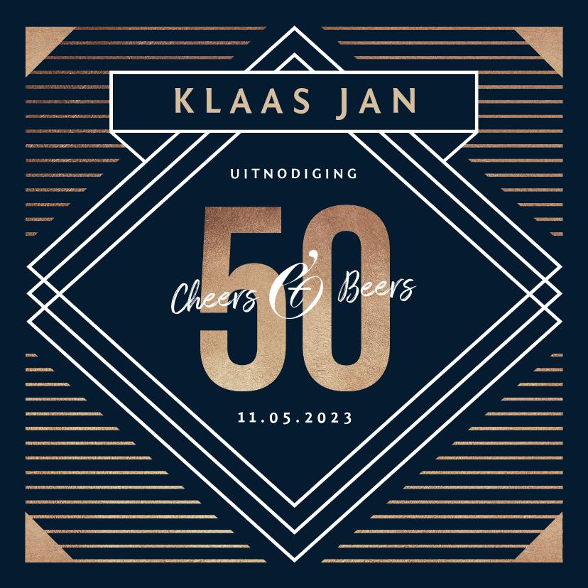 Uitnodigingen - Uitnodiging 50 jaar goud stijlvol man blauw