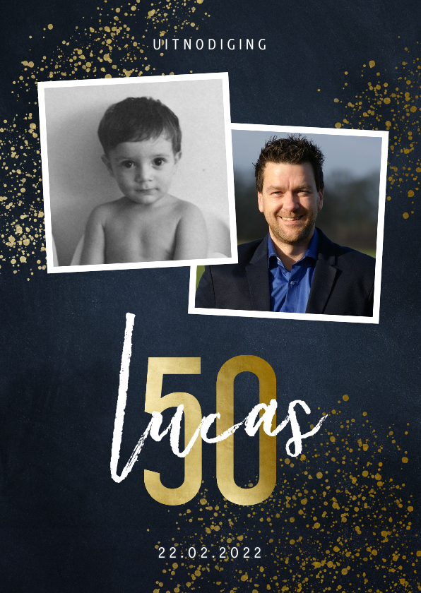 Uitnodigingen - Uitnodiging 50 jaar stijlvol goudlook met foto en spetters