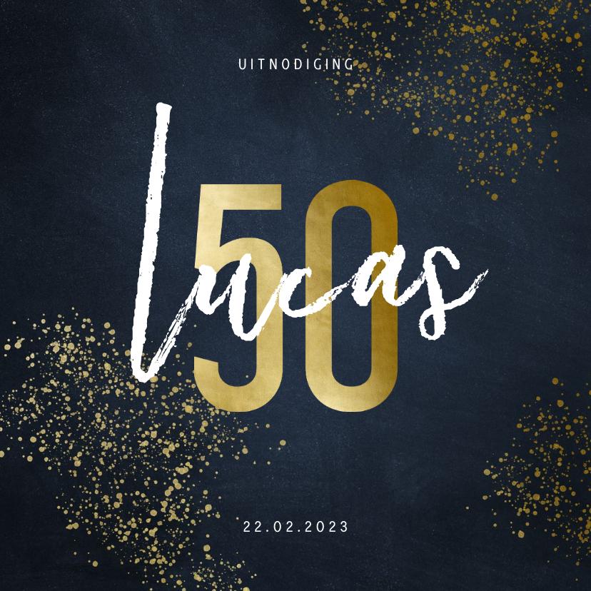 Uitnodigingen - Uitnodiging 50 jaar stijlvol goudlook met spetters
