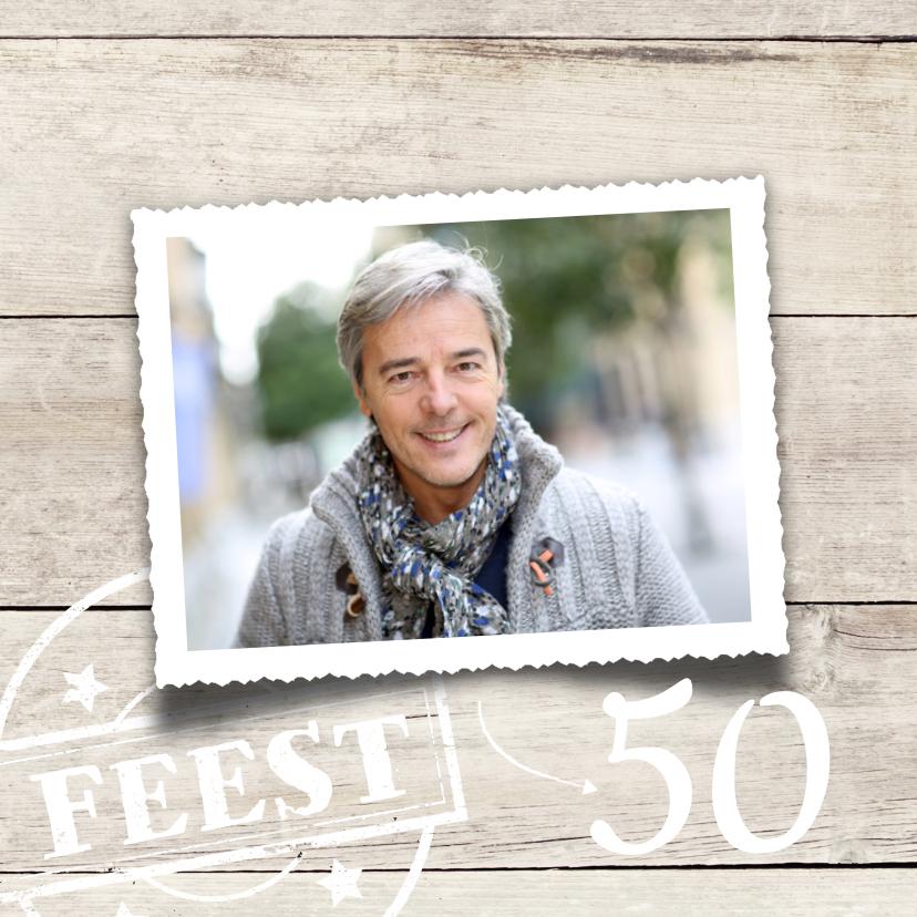 Uitnodigingen - uitnodiging 50 jaar verjaardag hout print