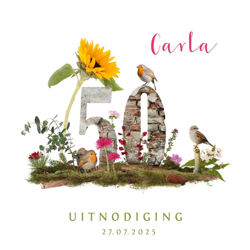 Uitnodigingen - Uitnodiging 50 jaar vogels en bloemen