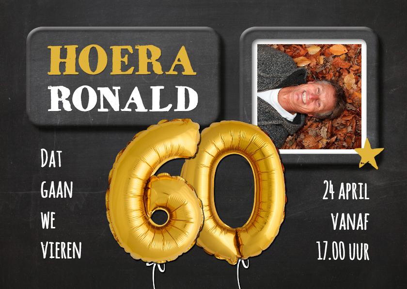 Uitnodigingen - Uitnodiging 60 jaar Ballon goud