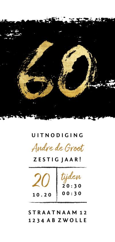 Uitnodigingen - Uitnodiging 60 met zwarte inkt stoer